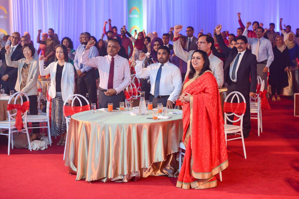 @WHOMaldives official Reception to mark World Health Day highlighted importance of #PrimaryHealthCare as a foundation for achieving #HealthForAll   Hon. Ministers of Health & Higher Education, Ambassadors, Partners & Colleagues united for a #ShoutofSolidarity ; pledging #YEStoUHC