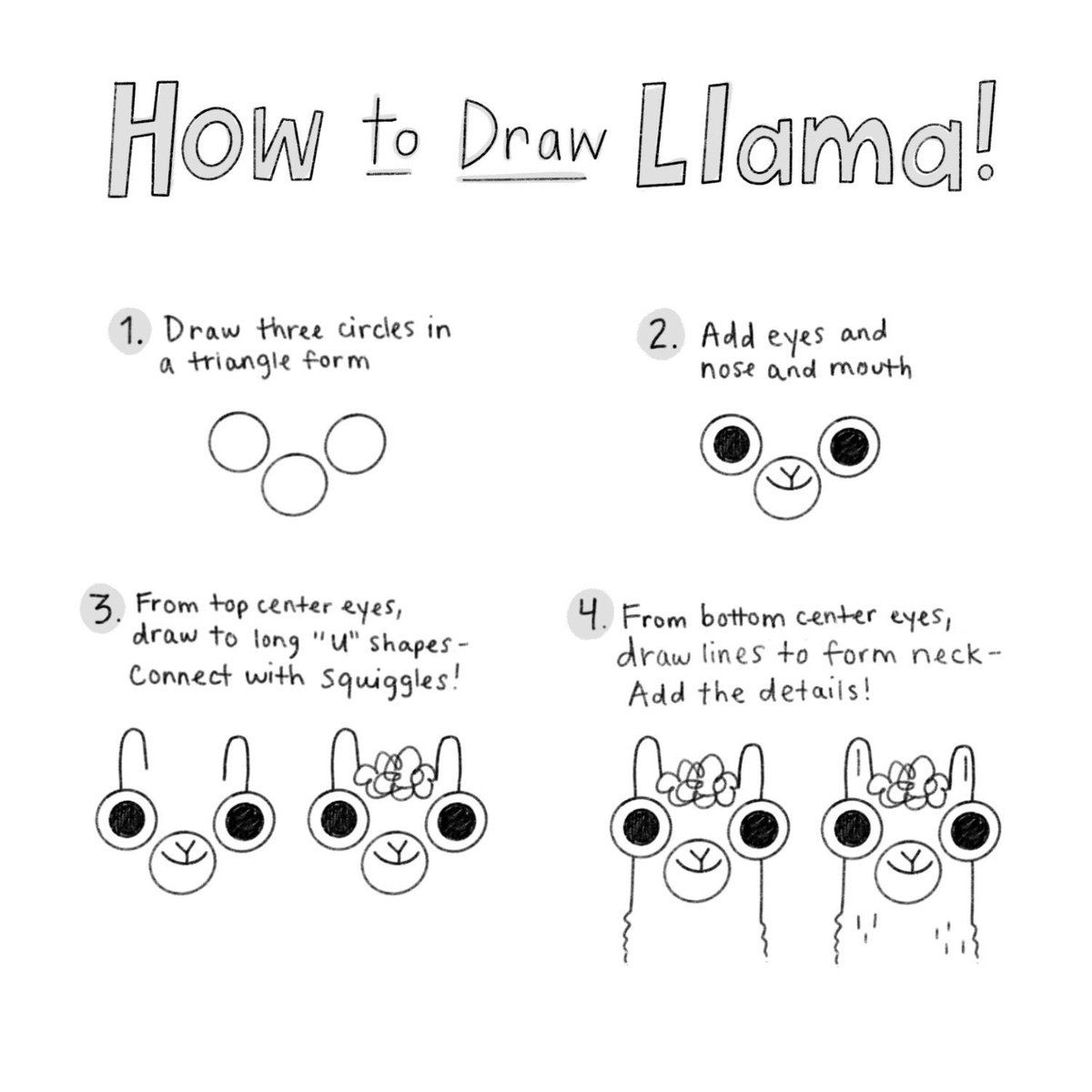 In college my professors told us NOT TO EVER DRAW THE EYES FIRST, but alas that's how I draw everything. Stay tuned for a full Llama tutorial next week!  (20 days)  #LlamaDestroysTheWorld #doodle #drawing #kidlitart #illustrator #newin19<br>http://pic.twitter.com/bCW9yin179