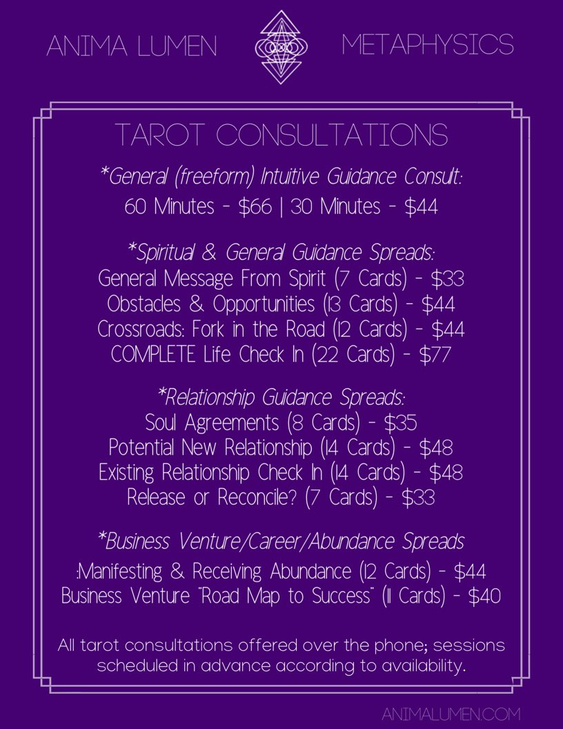 ✨My updated services & offerings✨  🌻Tarot Consultations 🌻Astrology Consultations 🌻Spell-Casting & Energy Work 🌻Comprehensive DIY Spell Guides  &more all available for booking 🤩  💸http://PayPal.me/maidenoracle  💸http://Cash.me/$Lgiselleg  💸venmo@Lgiselleg  http://AnimaLumen.com/services