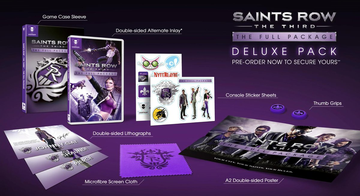 Saints Row: The Third - The Full Package Deluxe Pack (Switch) is a GameStop exclusive in NA! Pre-order: https://nin.deals/2DeljIr  Saints Row Thumb Grips 16x24 double-sided poster Microfiber cloth 2x Sticker sheets 3x Double-sided lithographs Alt inlay Deluxe game case sleeve
