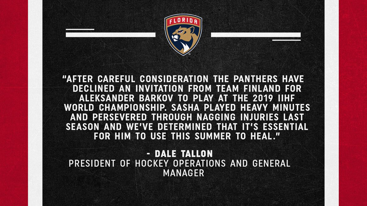 fd5220a487e ... Manager Dale Tallon statement on Aleksander Barkov s declined  invitation to 2019  IIHFWorlds » http   bit.ly Statement0417 pic.twitter .com hvglSDU1OV