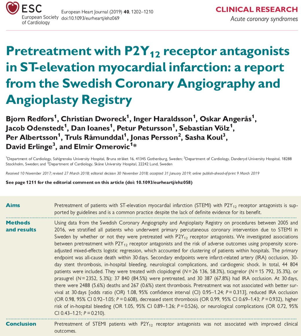 Large study (non-rand) today suggesting pre-loading oral P2Y12 inhibitors in STEMI is not effective. They all work too slow to be active during primary PCI (most adverse events are periprocedural), even if crushed. IV cangrelor overcomes this, but lacking definitive RCT data.