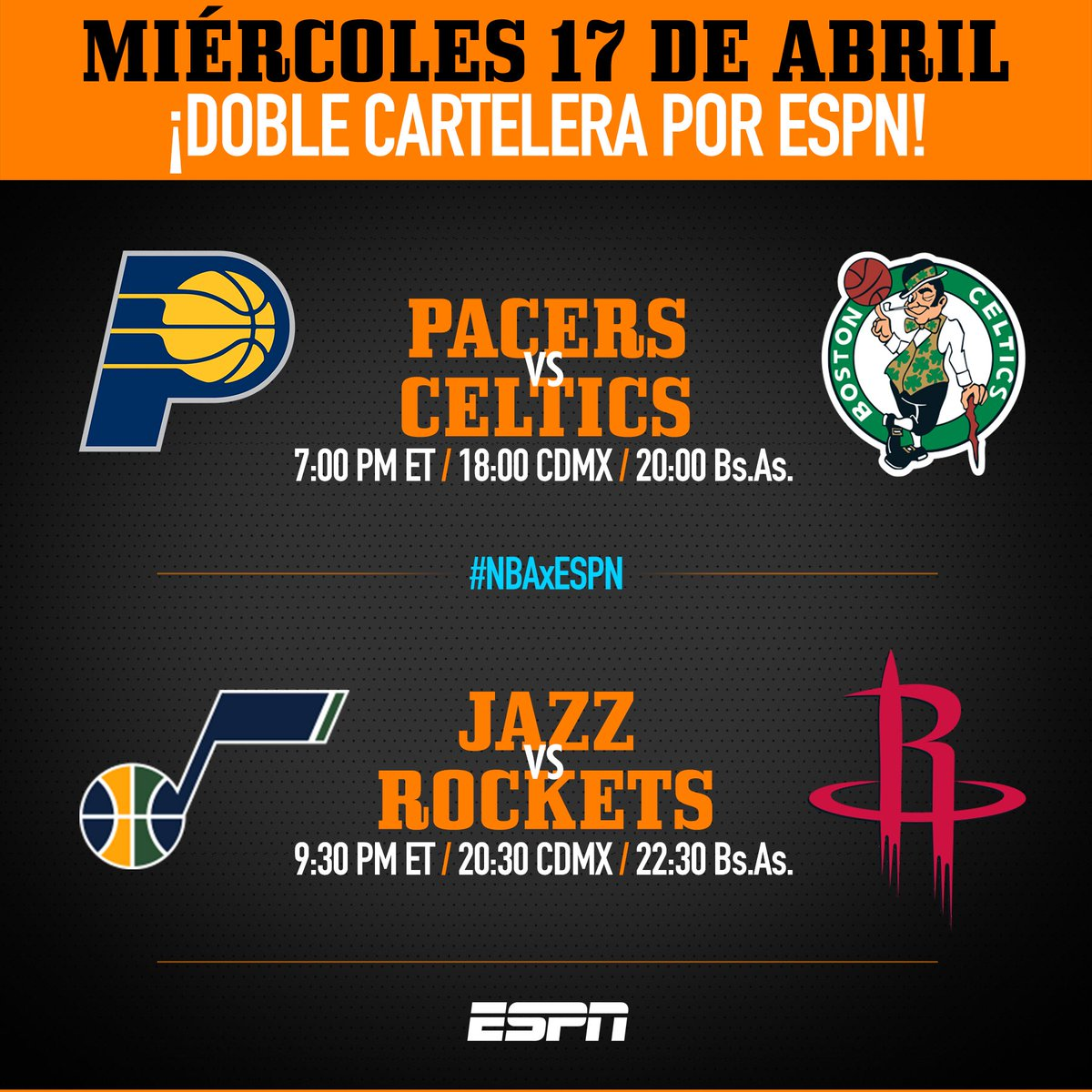 El menú de playoffs de hoy en #NBAxESPN  1. Pacers (0) Vs Celtics (1) con @CoachCMorales y @AlvaroNBAMartin   2. Jazz (0) Vs Rockets (1) con @soyleomontero y @AleRPerez https://t.co/fqc7yV33H8