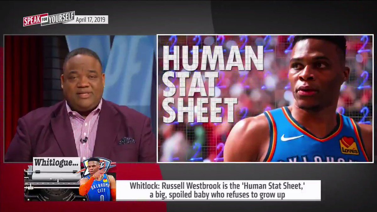"""""""Russell Westbrook AKA the 'Human Stat Sheet' can no longer mask his horrible play by getting triple doubles. The gimmick is up. His insecure and immature style of play is the reason OKC is on the verge of being eliminated in the 1st round again."""" —@WhitlockJason"""