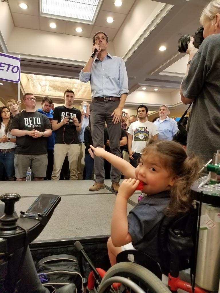 It's the first day of spring break so we headed out to Northern VA to ... a @BetoORourke town hall to highlight health care & community inclusion for children with complex medical needs and disabilities.