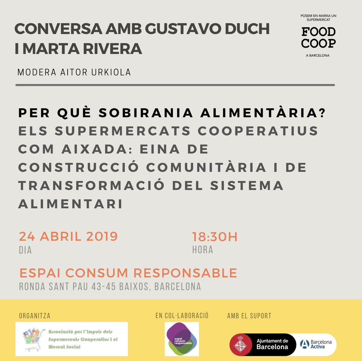 """24/04 organitzem la sessió """"Per què sobirania alimentària?"""" amb @gustavoduch i Marta Rivera. Si esteu interessades, apunteu-vos a l'esdeveniment de Facebook https://www.facebook.com/events/858137261214058/… Per escalfar motors, us animem a llegir https://kaosenlared.net/agroecologia-feminista-para-la-soberania-alimentaria-de-que-estamos-hablando/… #agendaESS"""