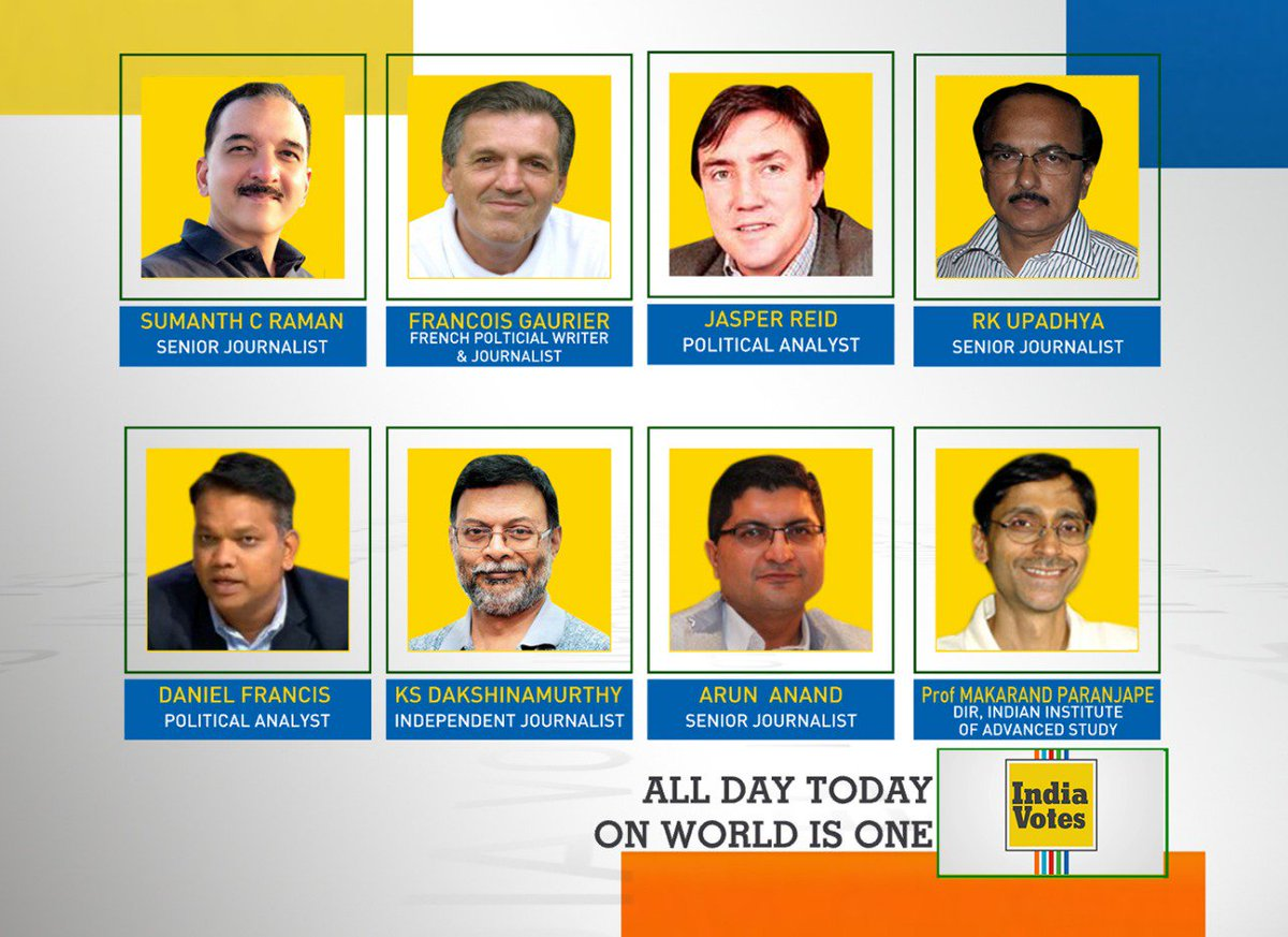 #IndiaElectionWatch | Watch #IndiaVotes with our panel of experts all day today on WION.  #VotingRound2 #LokSabhaElections2019 @sumanthraman, Francois Gaurier, Jasper Reid, RK Upadhya, @DFranticly, KS Dakshinamurthy,  @ArunAnandLive and @MakrandParanspe https://t.co/JP1fJ7YQVC