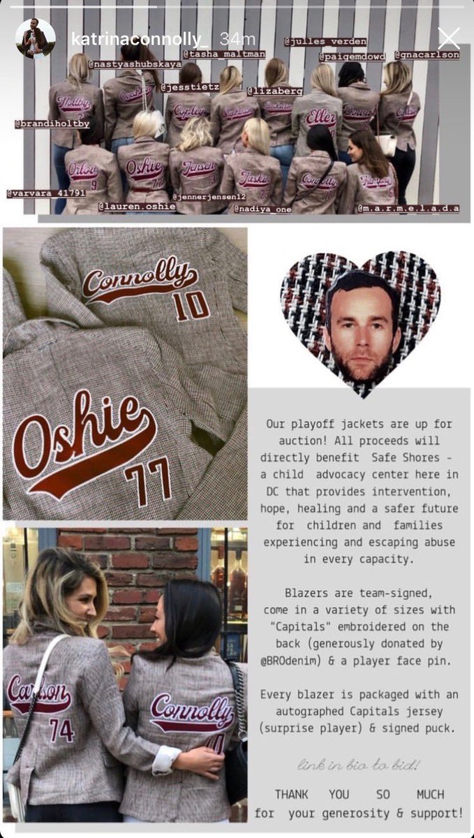 Caps wives playoff jackets are up for auction in support of @SafeshoresDC and the fight against childhood abuse. Each blazer is team-signed and comes with an autographed jersey, puck & pin. Thank you in advance for your support! https://t.co/D2ACyRxBW1