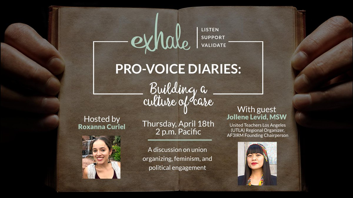 This Thursday, we host another Pro-Voice Diaries at 2 p.m. Pacific on #FacebookLive. Join us as we sit down with @jollenelevid to discuss union organizing, #feminism, and political engagement!