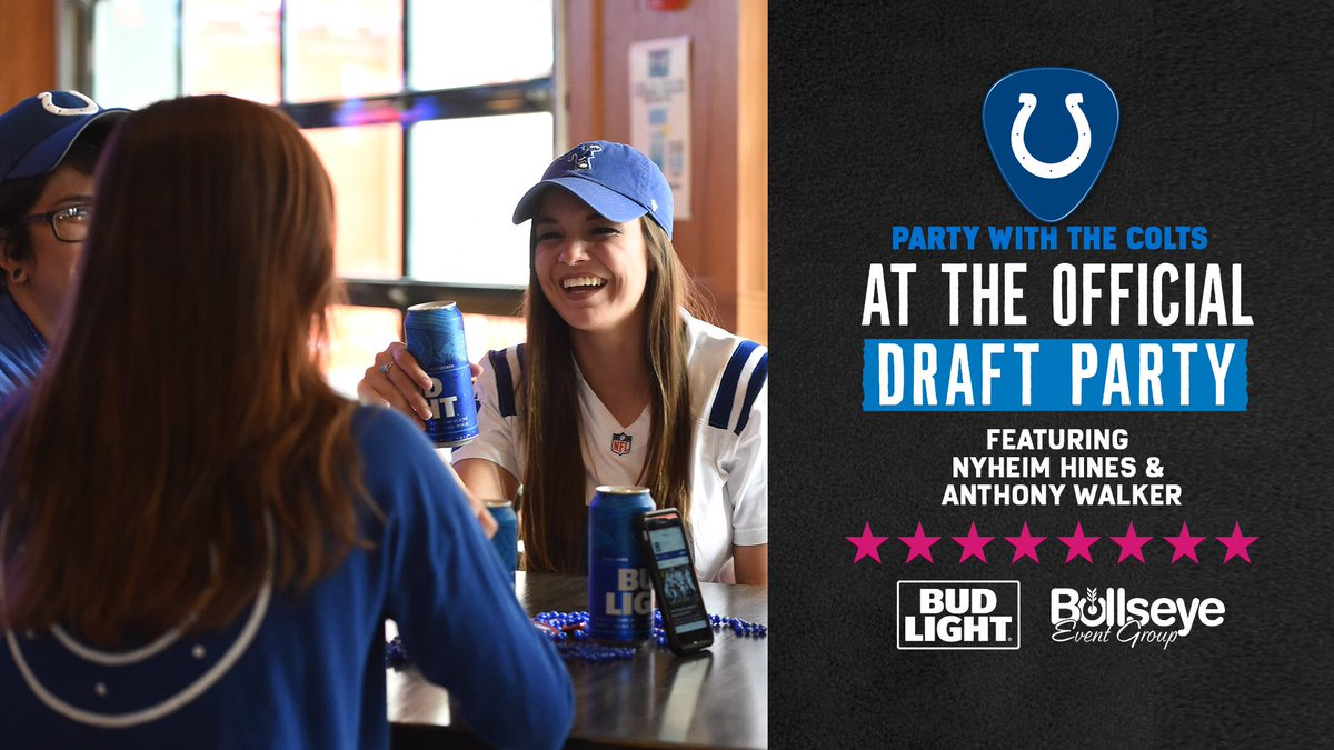 Official Draft Party Countdown: 9️⃣ Days! 📻 JMV Live Show: 3-6PM 🏈 Player Appearances: 7-9PM 🍻 $3 Bud Light Specials 🆓 Draft t-shirt for first 100 fans! Visit Colts.com/draft for all event and Draft weekend details!