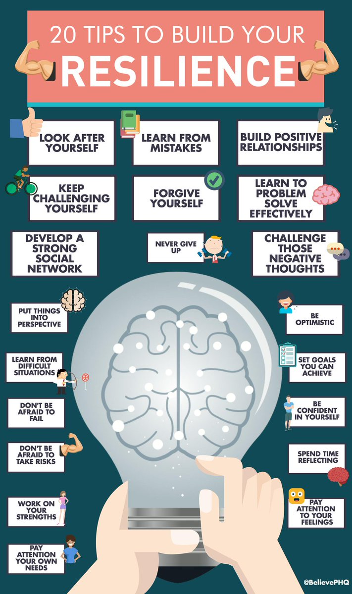 Please re-Tweet these 20 tips to build your #resilience   (image via @BelievePHQ) #Alzheimers #dementia #mentalhealth<br>http://pic.twitter.com/rYr1TGryje