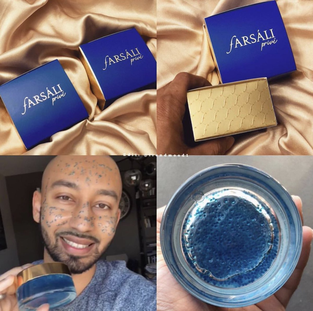 #SneakPeek 👀👀 @farsalicare is teasing us again 💙 with a NEW! Product (which looks like a face mask or exfoliator 💦 and also starting a new line #FarsaliPrive - which will have products with limited quantities and exclusive to their website #comingsoon