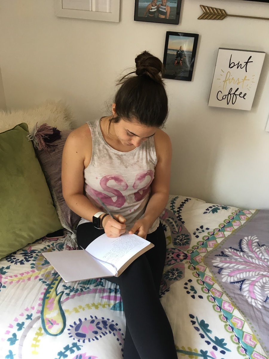"""#SelfCareDC ✍️💙  """"I practice #selfcare by taking time for myself every evening to journal, read, and think through the highs and lows of my day. Having a reliable bedtime routine helps me sleep well and feel prepared for the next day."""" - Lyndsey, DCCADV Friend   #DCSAAM #SAAM"""