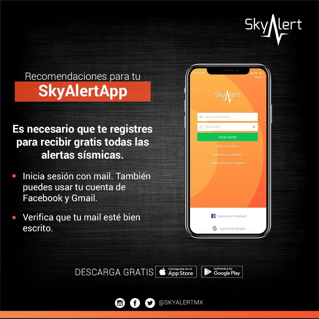 Atendemos tus dudas o brindamos asesoría en @SkyAlertSoporte.  Descarga gratis: https://bit.ly/2IocDUc