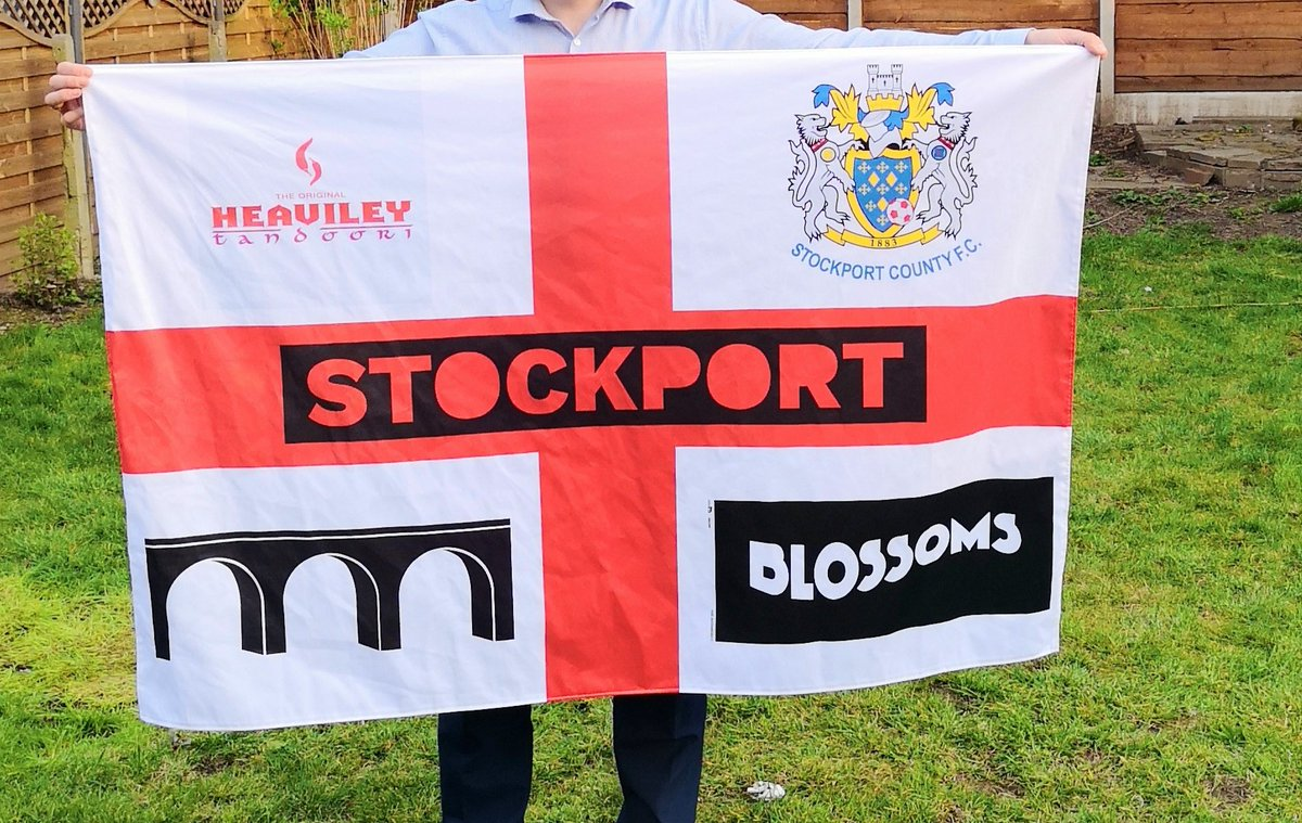 Chorley's the place to be on Saturday as the mighty hatters are on their way to see the promotion charge. New outing for the flag showcasing some of Stockports and Englands finest @StockportEl  @M_Traynor_  @TheTopHat @Scotty0Mason @BlossomsBand @StockportCounty #UTH #vanarama https://t.co/91xNYWNRen