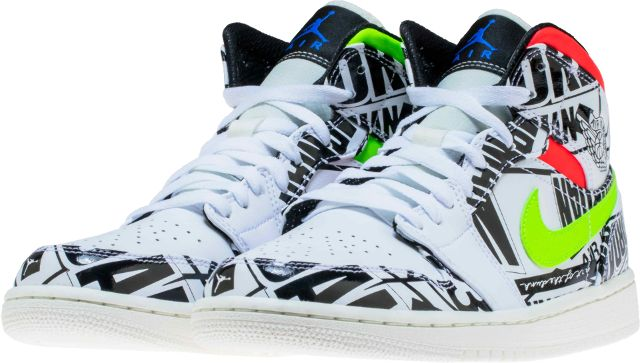 2a5eed627ce3 this air jordan 1 mid features white leather across the upper jordan  branding throughout in black