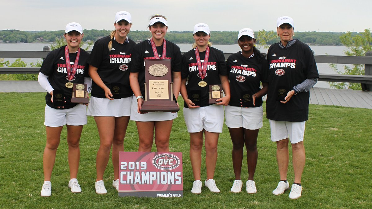 Congratulations to @RacersWGolf on winning the 2019 OVC Women's Golf Championship.  It is the 3rd-straight and record 12th overall OVC Women's Golf crown for the Racers.