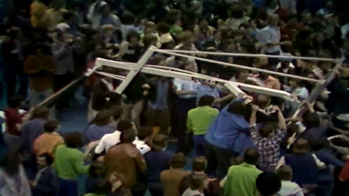 """""""I've never seen an indoor crowd tear the basket down like they did.""""  @MrCavalier34 reflects on the legendary Miracle of Richfield.   