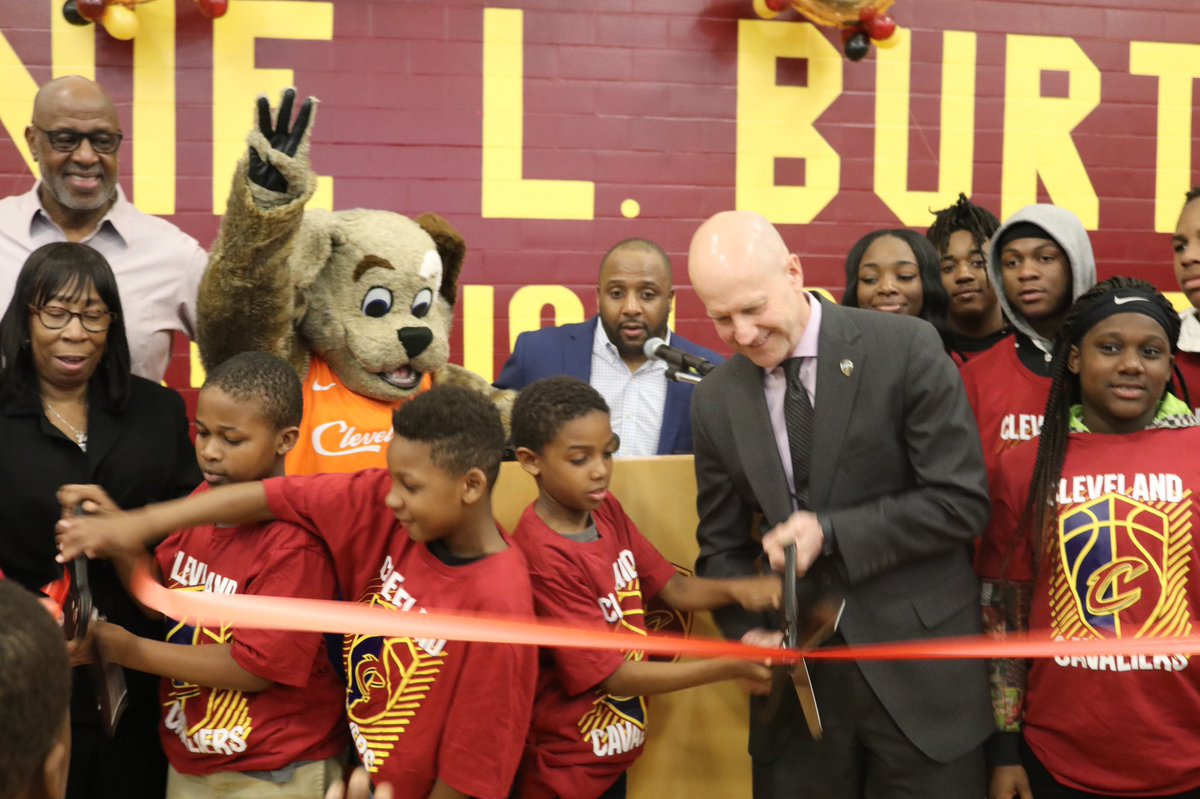 Excited to cut the ribbon on another refurbished court with the @CityofCleveland at the Lonnie Burten Neighborhood Resource & Recreation Center!   #CavsCare