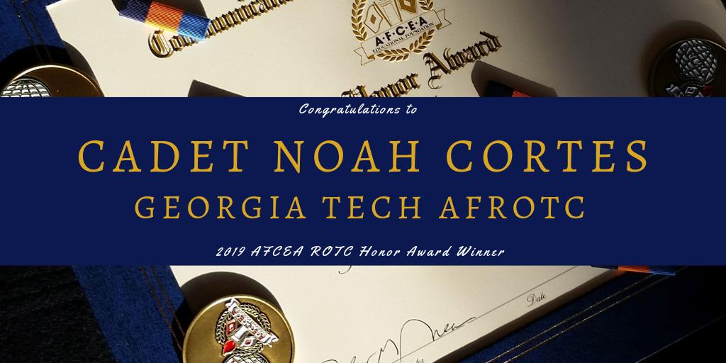 Congratulations to @GeorgiaTech AFROTC Det 165 Cadet Noah Cortes on being recognized for outstanding leadership and achievement with the #AFCEA #ROTC Honor Award! http://bit.ly/2FI9BV1