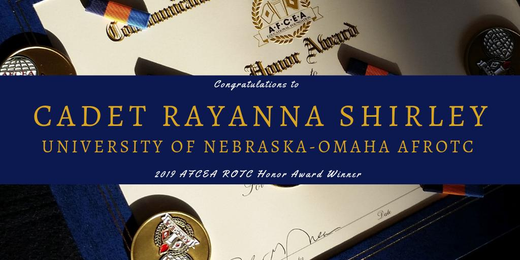 Congratulations to @UNOmaha AFROTC Det 470 Cadet Rayanna Shirley on being recognized for outstanding leadership and achievement with the #AFCEA #ROTC Honor Award! http://bit.ly/2FI9BV1