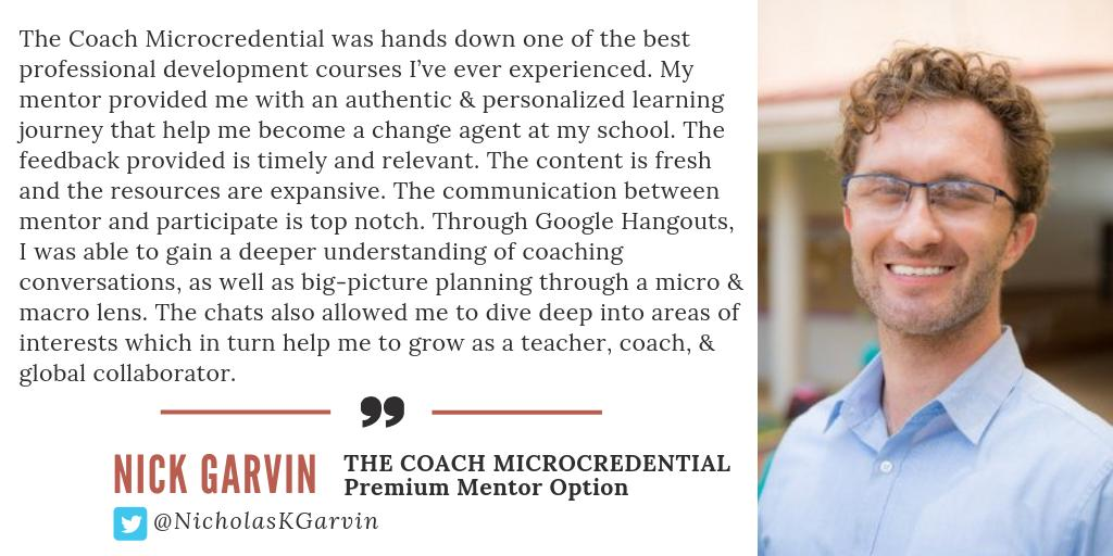 How did @NicholasKGarvin grow during The Coach Microcredential? Let him share the ways!  http://bit.ly/edurocoach  #EduroLearning #CoachBetter #educoach #educoachoc #isedcoach #edchat #edtech #asiaed #africaed #edchatmena #edchateu #profdev #instructionalcoach #edleaders