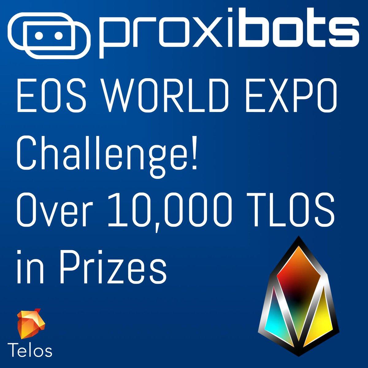 Come to https://proxibots.io to take on the @EosWorldExpo challenge to win over 10k TLOS in prizes! @BuildOnTelos #telos #eosio #robotics