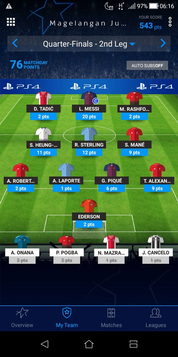 #UCLFantasy MD 10  🎯 76 points 📊 OP 543 📈 OR 31,976 🎉 MIDs 💩 Laporte  Great result but poor performance by Manchester duo. Fortunately MIDs all scored, with TAA assisted again. Lucky no to pick up Ronaldo as Juve lost. Now also aiming to get into top 25k 🔥🔥