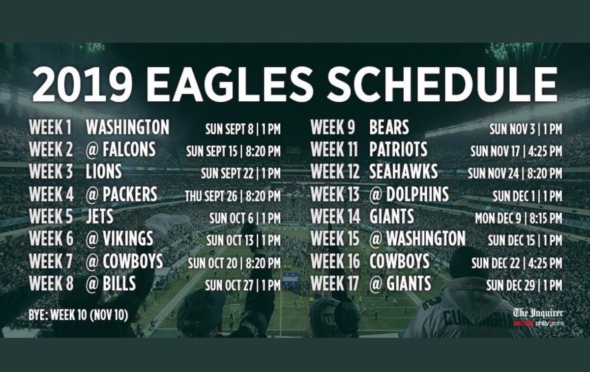 Eagles Schedule 2019 Howard Eskin on Twitter: