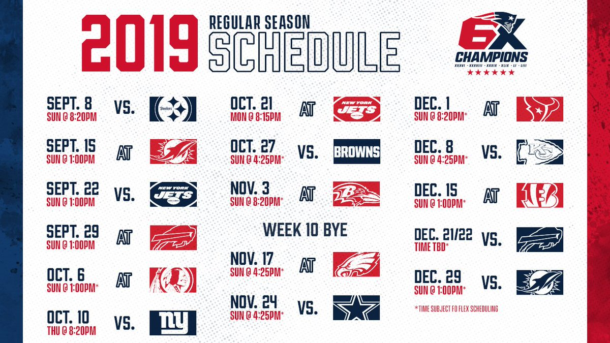 Patriots Schedule 2019 New England Patriots on Twitter:
