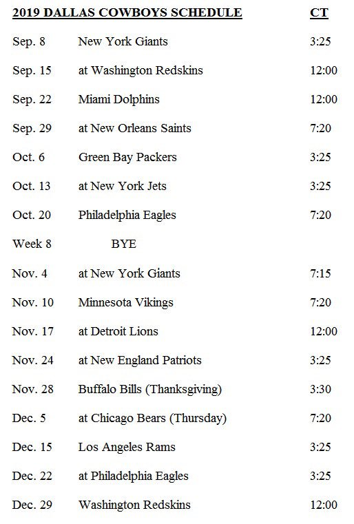 Jane Slater On Twitter Cowboys 2019 Schedule Is Here Ping