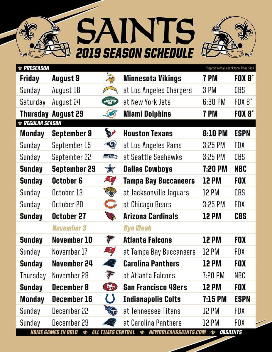 No Saints Schedule 2019 New Orleans Saints on Twitter:
