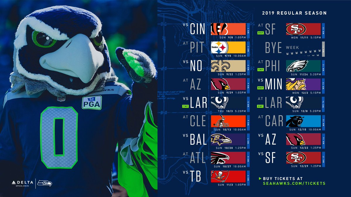 Seahawks Schedule 2019 Blitz the Seahawk on Twitter:
