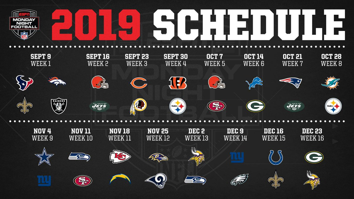 🚨 The 2019 Monday Night Football schedule is here! 🚨  Are you ready for some football? 🥳