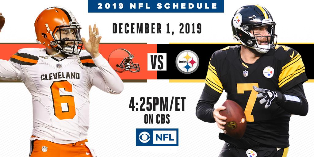 A heated rivalry in the AFC North  The @Browns roll into Pittsburgh to face the @Steelers December 1st on CBS.
