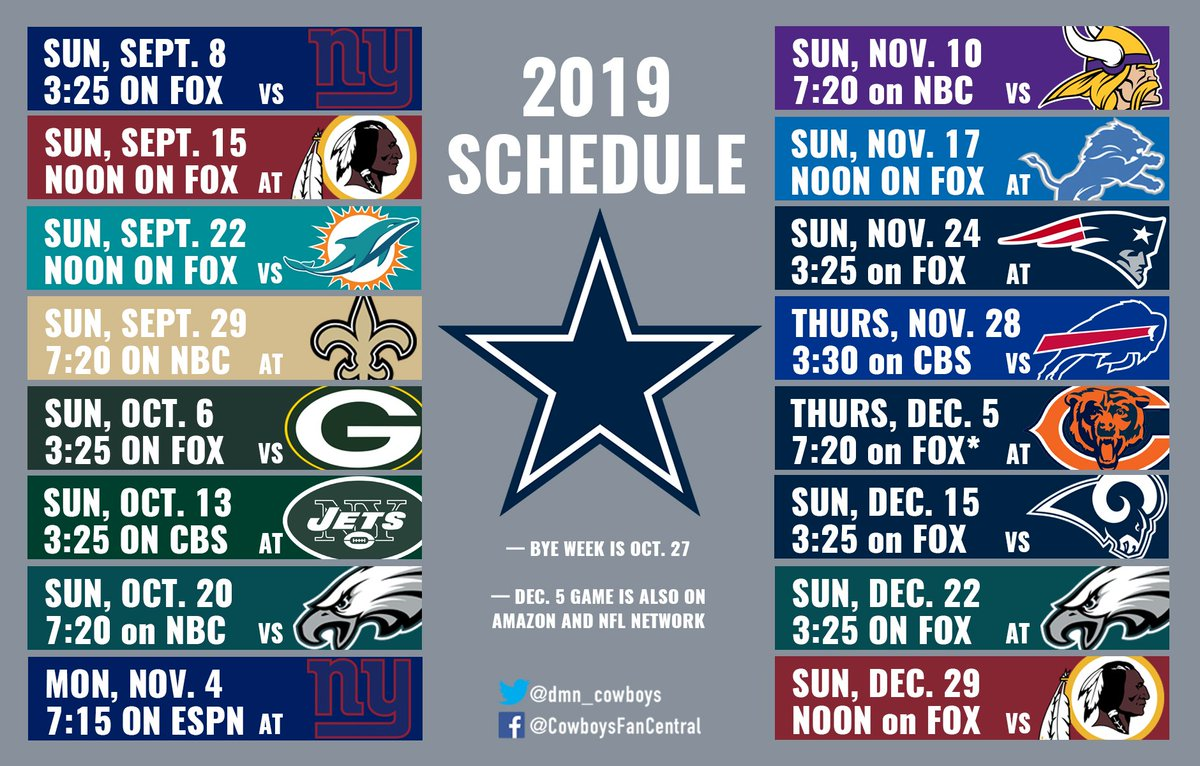 Dallas Cowboys Schedule 2019 SportsDay Cowboys on Twitter: