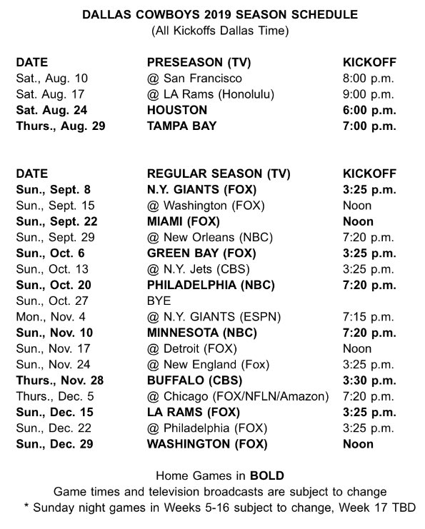 graphic about Dallas Cowboy Schedule Printable known as Compensated and Total: The Formal 2019 Dallas Cowboys Year