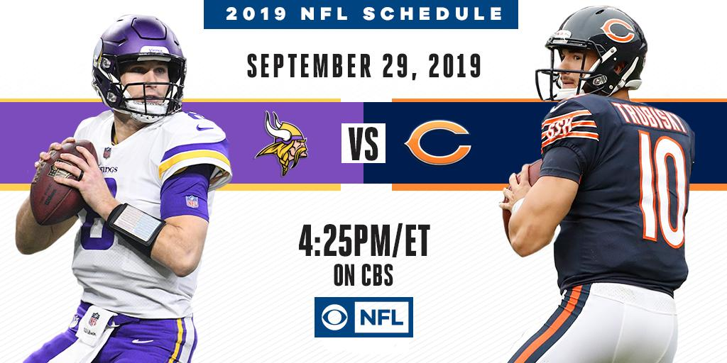 There are definitely going to be some fireworks in the NFC North.  The @ChicagoBears host the @Vikings on September 29th on CBS.
