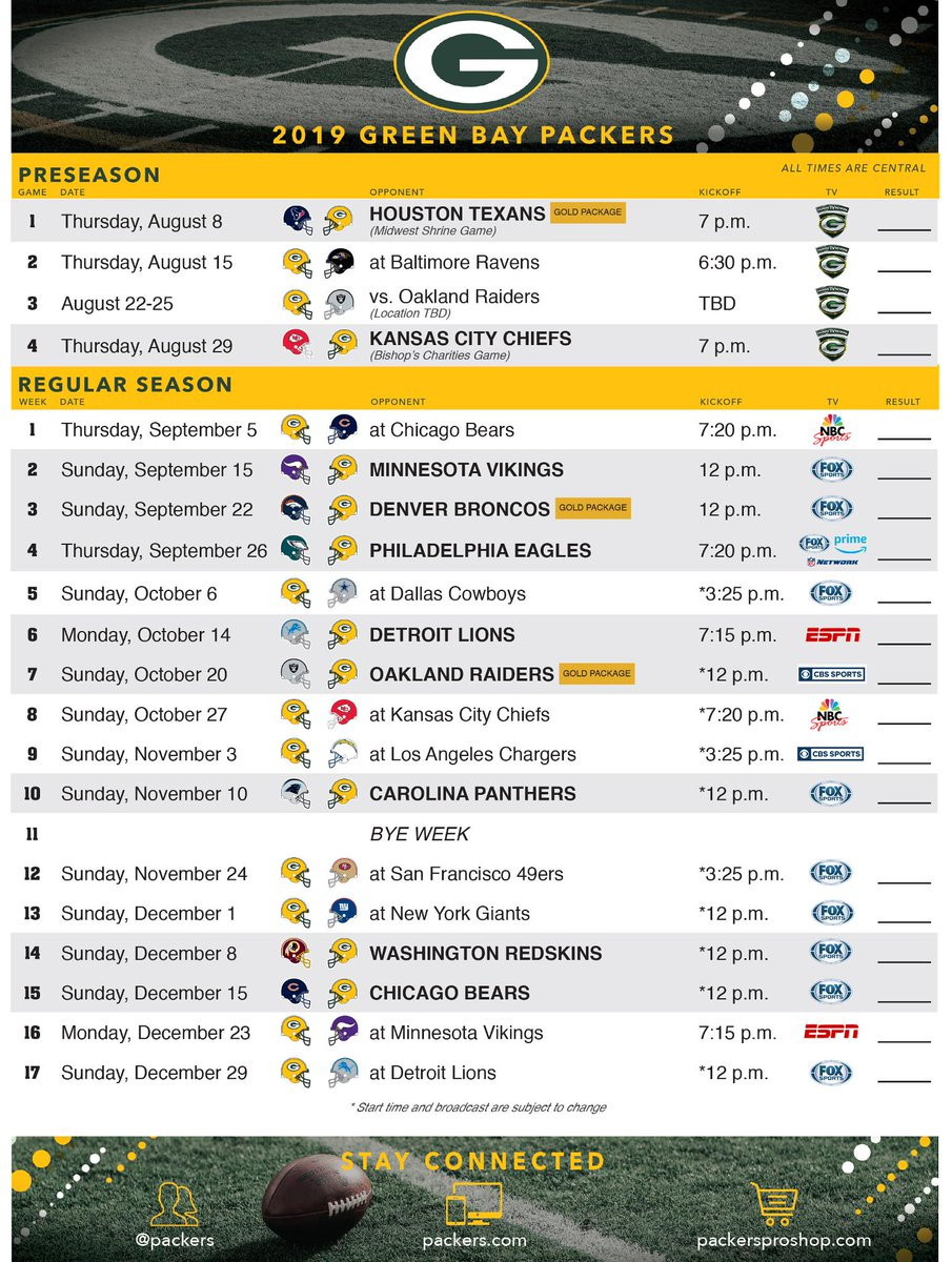 photo about Green Bay Packers Printable Schedule called Eco-friendly Bay Packers upon Twitter: \