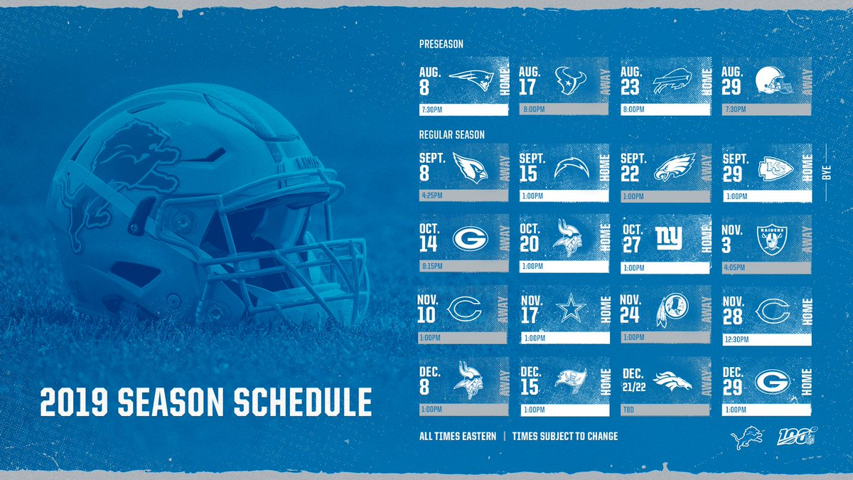 2020 Lions Schedule Detroit Lions on Twitter: