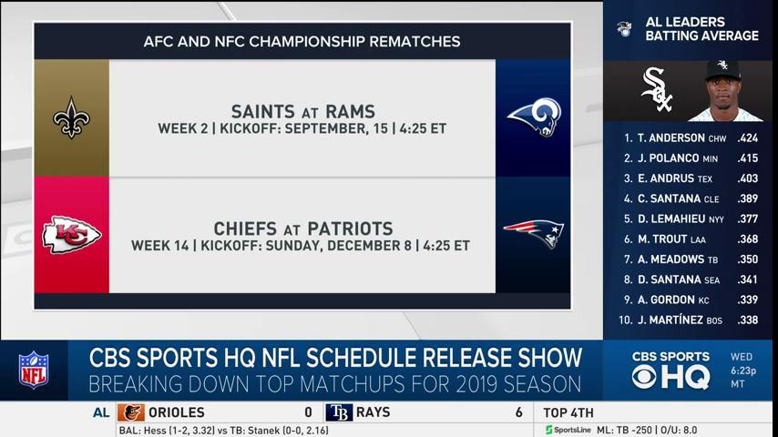 NFC Championship rematch between the Saints and Rams will go down in Week 2.  Get the full NFL Schedule Breakdown right here on CBS Sports HQ:  http://cbssports.com/live/   #NFLScheduleRelease