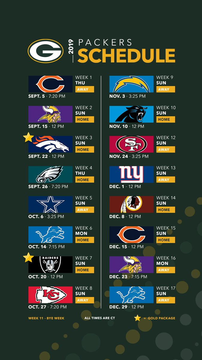Packer 2019 Schedule Green Bay Packers on Twitter: