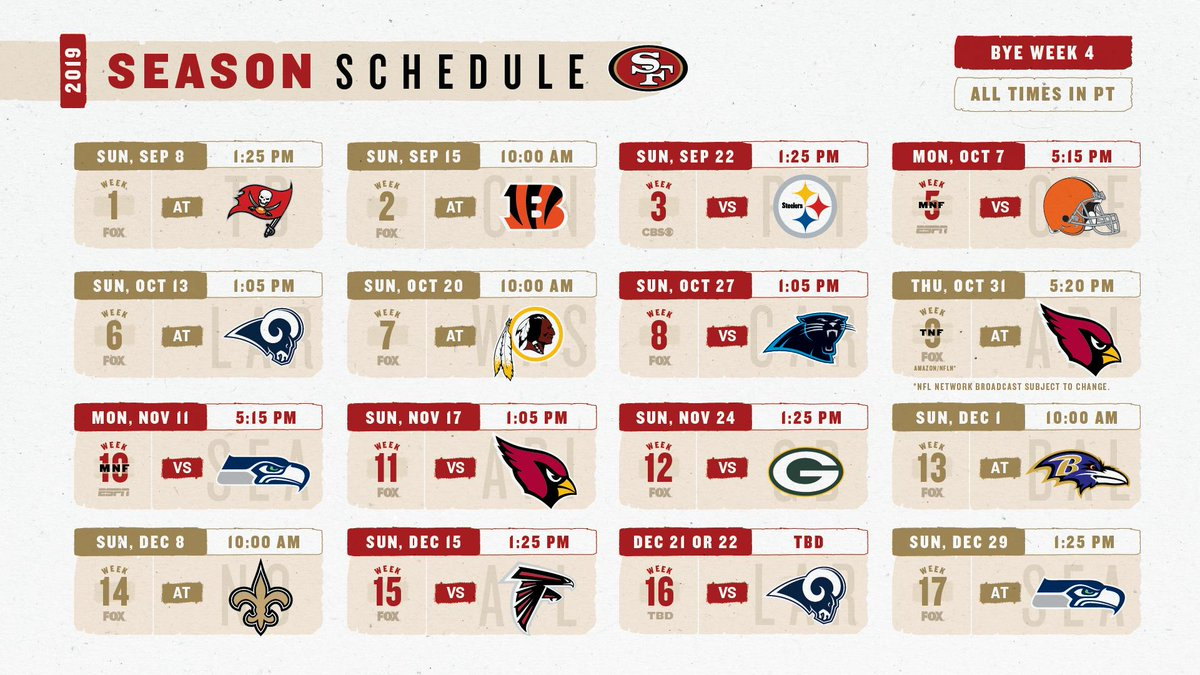 Sf 49ers 2019 Schedule San Francisco 49ers on Twitter: