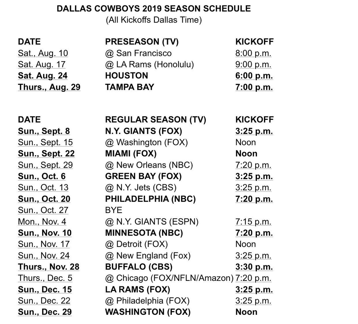 The Cowboys' Schedule Has Something That Hasn't Happened In 60 Years