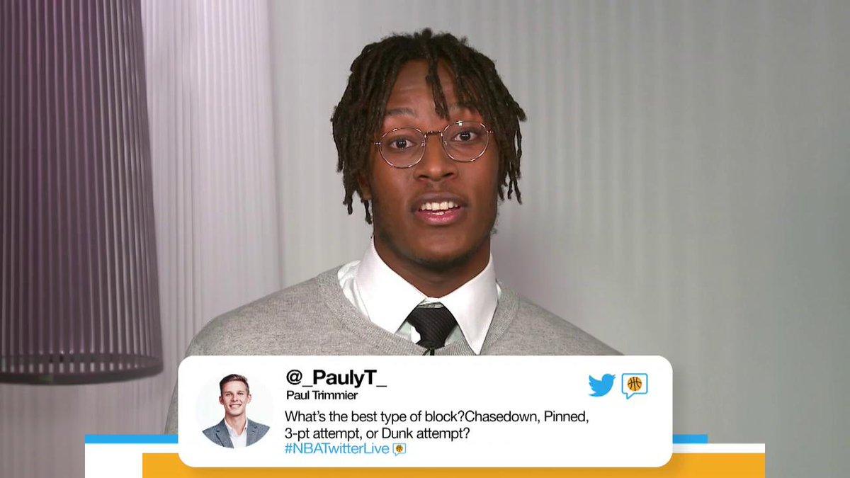 .@Pacers @Original_Turner talks practicing yoga, his favorite type of block & more on #NBATwitterLive 💯