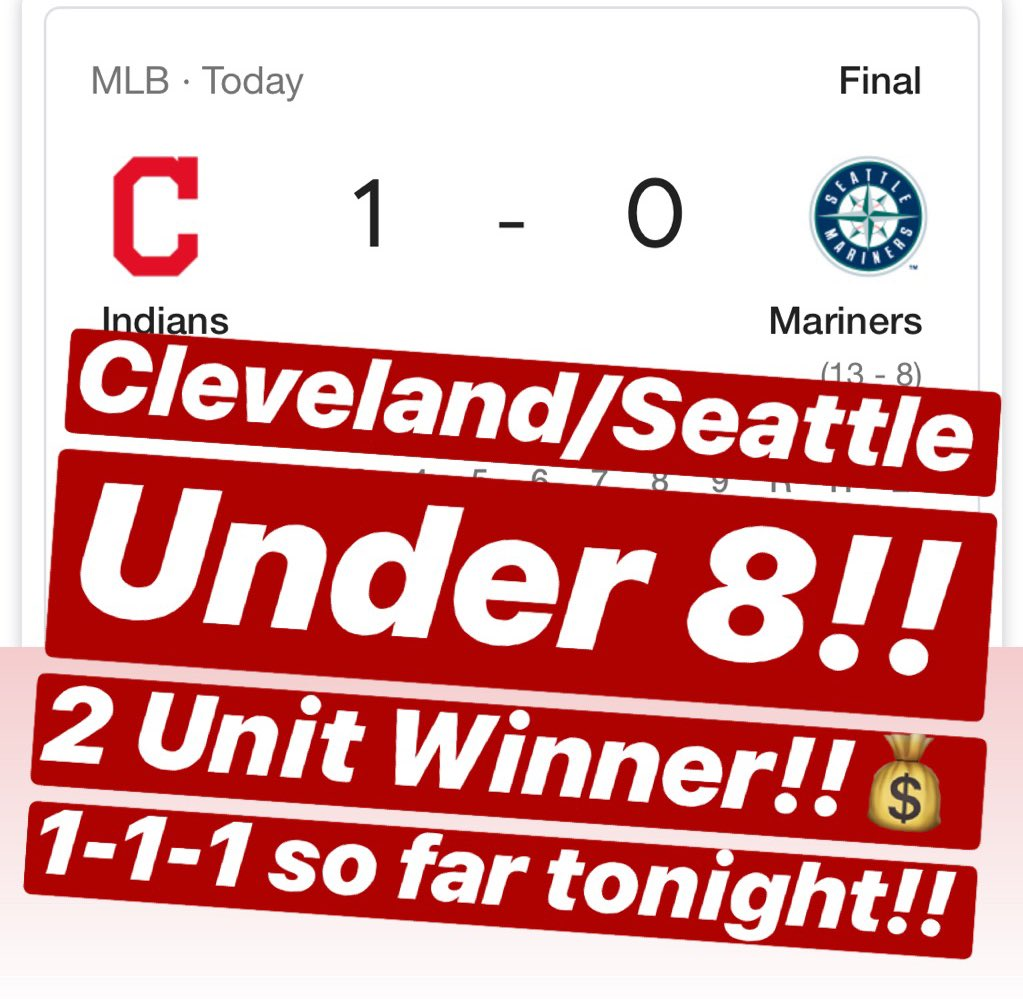 💰CLEVELAND/SEATTLE UNDER 8 is a 2 UNIT WINNER!! 1-1-1 so far tonight!!💰🔥MESSAGE us NOW for the $10 Daily Special or the $59 April Special & receive a 🆓 ATS Tee!!🔥321-117-8🔥#handicapper #ATS #WeWinWhenYOUWIN #sportsbetting #sportsbettingadvice  #ncaabasketball #nba #nhl #mlb