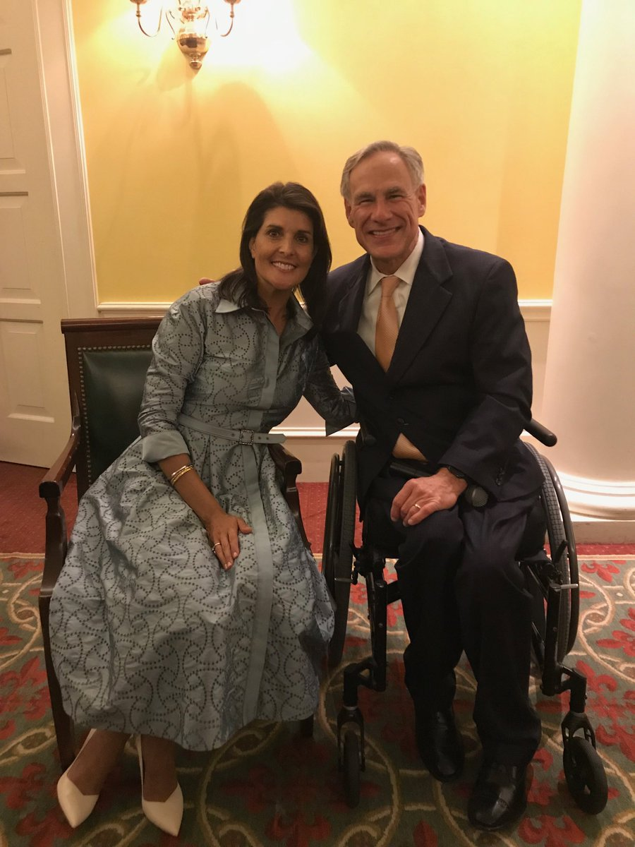 Delighted to have the wonderful Ambassador @NikkiHaley in Texas. She has powerful words for the role America plays in the world today.