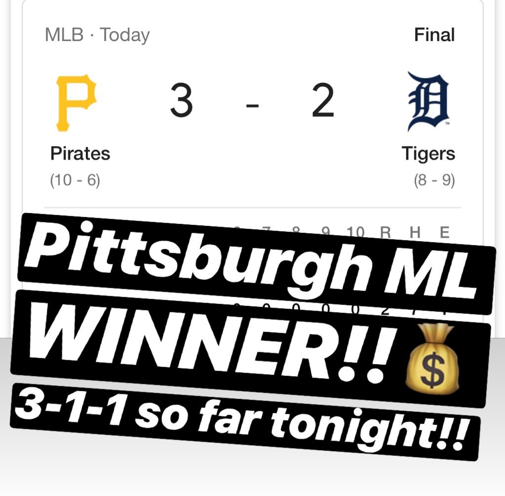 💰PITTSBURGH ML is a WINNER!! 3-1-1 so far tonight!!💰🔥MESSAGE us NOW for the $10 Daily Special or the $59 April Special & receive a 🆓 ATS Tee!!🔥327-117-8🔥#handicapper #ATS #WeWinWhenYOUWIN #sportsbetting #sportsbettingadvice  #ncaabasketball #nba #nhl #mlb