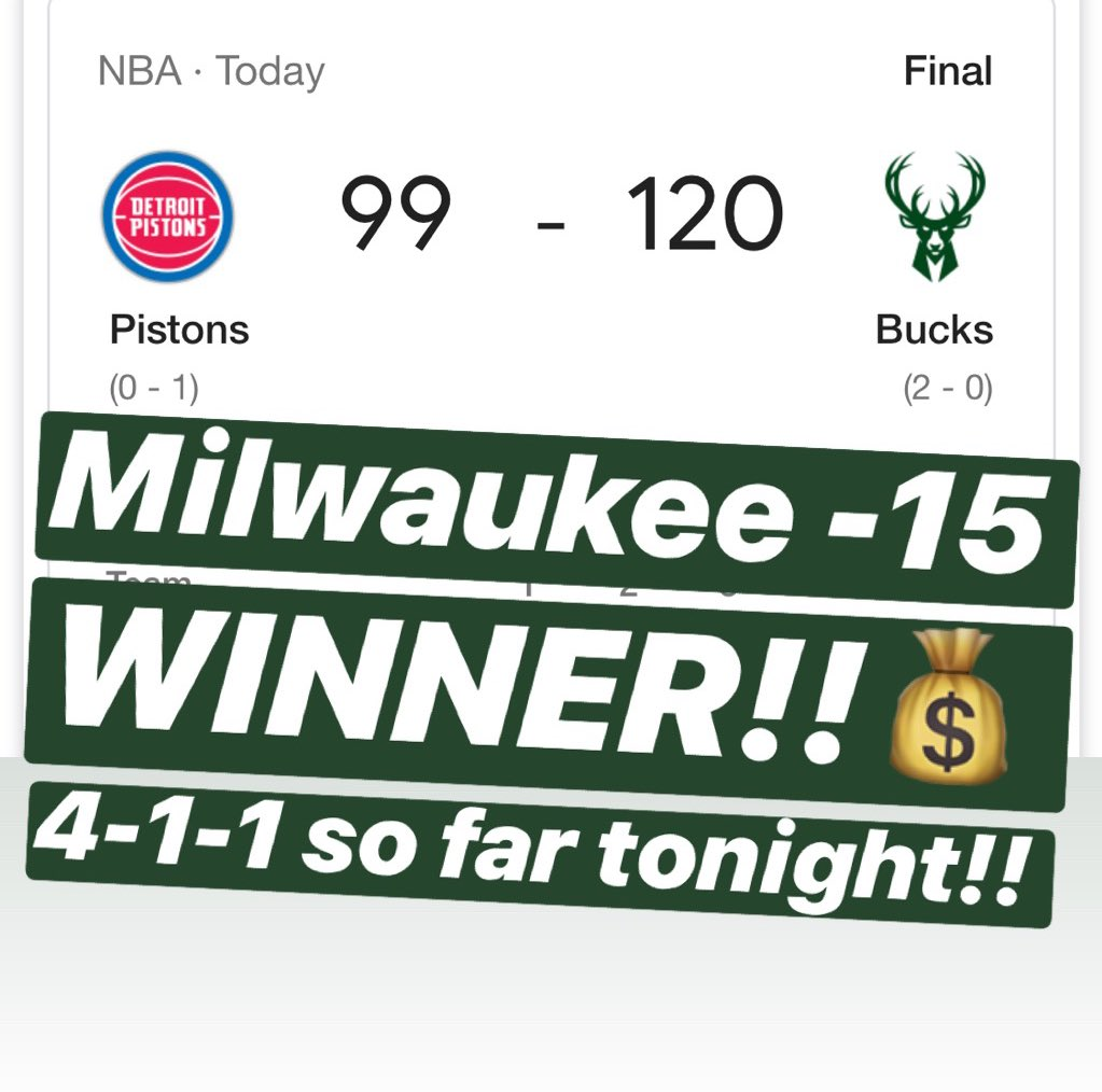 💰MILWAUKEE -15 is a WINNER!! 4-1-1 so far tonight!!💰🔥MESSAGE us NOW for the $10 Daily Special or the $59 April Special & receive a 🆓 ATS Tee!!🔥328-117-8🔥#handicapper #ATS #WeWinWhenYOUWIN #sportsbetting #sportsbettingadvice  #ncaabasketball #marchmadness #nba #nhl #mlb