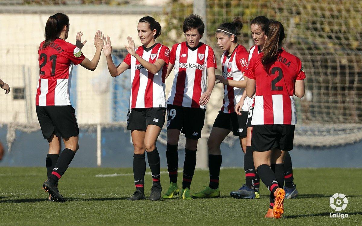 Au premier tour de la @LigaIberdrola nous avons gagné 0⃣-2⃣   le @MalagaCFemenino grâce aux buts de @neka_7 et @Luciadelapola17 ⚽ Que croyez-vous que sera le résultat de demain? 🤔 #AthleticClub #Futfem